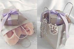 collagepacke med shopping och gåvor royaltyfri illustrationer