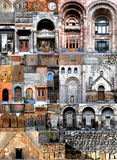 Collages architecture Armenia. Architecture of Armenia. A photocollage Fragments and elements of architecture of the Area of Republic and building of the Stock Image