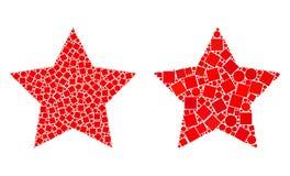 Collages d'icône de Red Star des places et des cercles illustration de vecteur