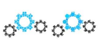 Collages d'icône de transmission de vitesse des places et des cercles illustration de vecteur