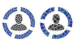 Collages del icono del diagrama del usuario de cuadrados y de círculos libre illustration