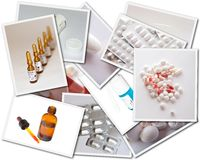 Collages with medicines photos Royalty Free Stock Images
