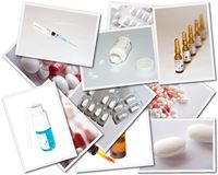 Collages with medicines photos Royalty Free Stock Image