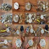 Collages Repair of watches Stock Photography