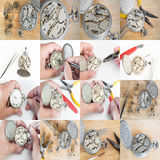 Collages Repair of watches Stock Image