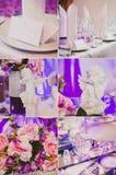 Collagesamling av den violetta purpurfärgade brölloptabellen Arkivbild
