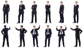 Collaget av affärsmannen som isoleras på vit Arkivfoto