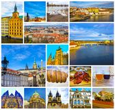 Collaget av den gamla staden Prague, Tjeckien royaltyfri fotografi