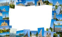 Collaget av den paris fotosamlingen Arkivfoto