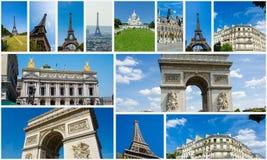 Collaget av den paris fotosamlingen Arkivbilder