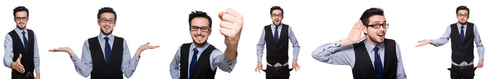 Collaget av den roliga affärsmannen på vit Fotografering för Bildbyråer