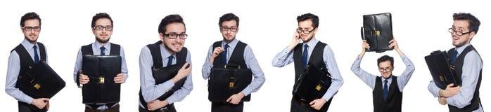 Collaget av den roliga affärsmannen på vit Royaltyfri Foto