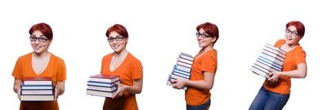 Collaget av den unga kvinnliga studenten på vit Royaltyfri Foto