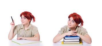 Collaget av den unga kvinnliga studenten på vit Arkivbild