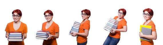 Collaget av den unga kvinnliga studenten på vit Royaltyfria Foton