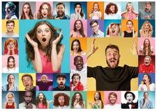 Collaget av förvånat folk Royaltyfri Foto