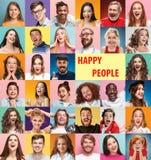 Collaget av förvånat folk royaltyfria foton