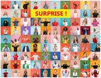 Collaget av förvånat folk royaltyfria bilder