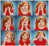 Collaget av flickan med olika sinnesrörelser Arkivfoton