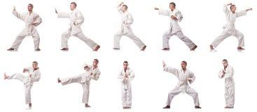 Collaget av karatespelaren i kimonot som isoleras på vit Arkivfoto