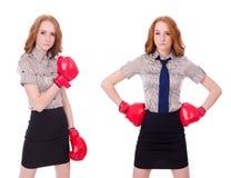 Collaget av kvinnaaffärskvinnan med boxninghandskar på vit Arkivfoton