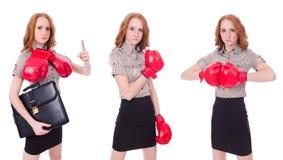 Collaget av kvinnaaffärskvinnan med boxninghandskar på vit Fotografering för Bildbyråer