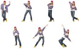 Collaget av kvinnadansen som isoleras på vit arkivfoton