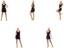 Collaget av kvinnan i modeblick som isoleras på vit Royaltyfri Fotografi
