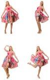 Collaget av kvinnan i modeblick som isoleras på vit Royaltyfri Foto