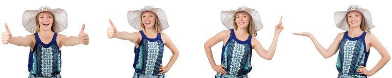 Collaget av kvinnan med den Panama hatten som isoleras på vit royaltyfri fotografi
