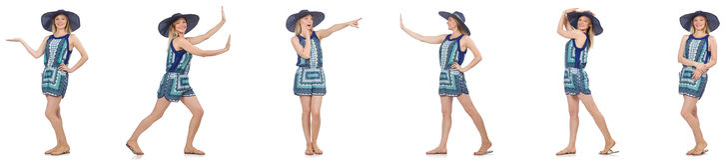 Collaget av kvinnan med den Panama hatten som isoleras på vit Arkivfoto