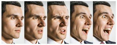 Collaget av olika mänskliga ansiktsuttryck, sinnesrörelser och känslor arkivbilder