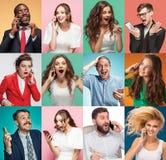 Collaget av unga män och kvinnor med mobiltelefoner royaltyfri bild
