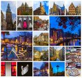 Collaget från sikter av Amsterdam kanaler och broar med typiska holländska hus, fartyg och cyklar Arkivbild