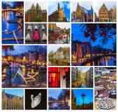 Collaget från sikter av Amsterdam kanaler och broar med typiska holländska hus, fartyg och cyklar Royaltyfria Bilder