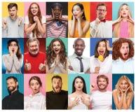 Collaget från stående av kvinnor med att le ansiktsuttryck Arkivfoto