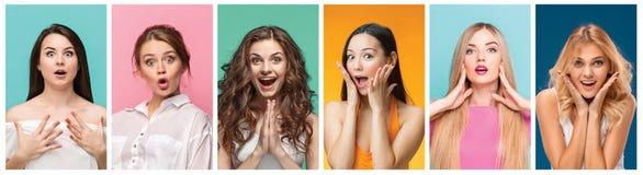Collaget från stående av kvinnor med chockat ansiktsuttryck royaltyfria bilder