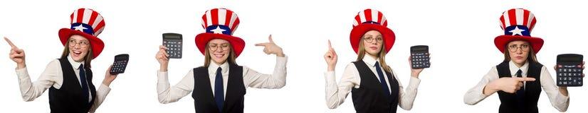 Collaget med kvinnan och den amerikanska hatten royaltyfri foto