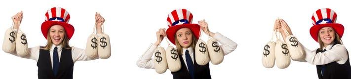 Collaget med kvinnan och den amerikanska hatten royaltyfri fotografi