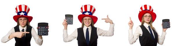 Collaget med kvinnan och den amerikanska hatten fotografering för bildbyråer