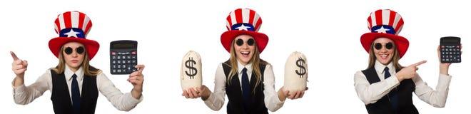 Collaget med kvinnan och den amerikanska hatten royaltyfria bilder