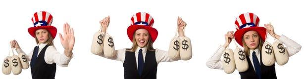 Collaget med kvinnan och den amerikanska hatten arkivbild