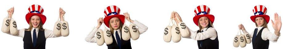 Collaget med kvinnan och den amerikanska hatten arkivfoton