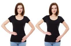 Collaget-shirt Kaukasische vrouw, meisje in zwarte die t-shirt op witte achtergrond, malplaatje, spatie wordt geïsoleerd stock afbeelding