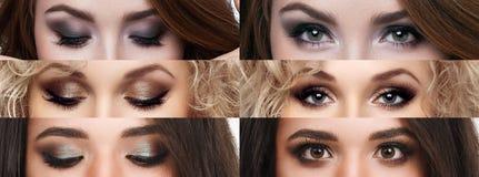 Collaget stängde och öppnar ögon med olik makeup Ljus makeup, skönhetsmedel, mascara, ögonskugga Skönhet och danar royaltyfri bild