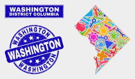 Collagetechnologie Washington District Columbia Map en Gekrast Washington Stamp Seal royalty-vrije illustratie