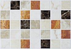 Collagetegelplattamarmor med färgrika effekter Arkivfoto