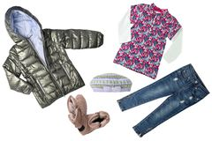 Collageuppsättning av barnkläder Kläder för för begreppsvårhöst och sommar bakgrund isolerad white close upp royaltyfri foto
