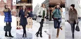 Collagevintermode unga härliga kvinnor royaltyfria bilder