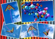 Collagevlieger het vliegen en kleurrijke ballons in de hemel royalty-vrije stock afbeeldingen